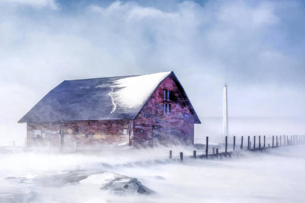 Painting - Anderson Dock Winter Storm In Door County by Christopher Arndt