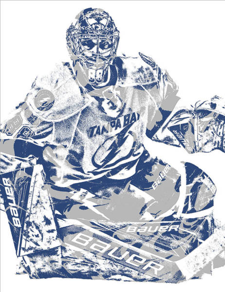 Wall Art - Mixed Media - Andrei Vasilevskiy Tampa Bay Lightning Pixel Art 2 by Joe Hamilton