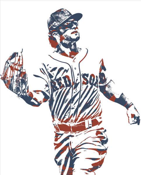 Wall Art - Mixed Media - Andrew Benintendi Boston Red Sox Pixel Art 10 by Joe Hamilton