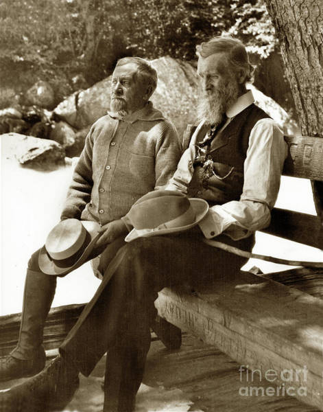 Photograph - Andrew Carnegie And John Muir March 1910 by California Views Archives Mr Pat Hathaway Archives