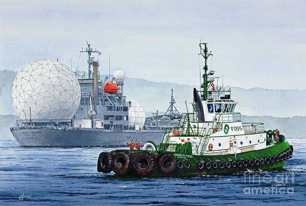 Wall Art - Painting - Andrew Foss Assisting Pacific Tracker by James Williamson