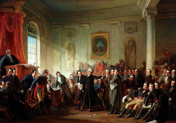 Patriotism Painting - Andrew Jackson Before Judge Hall, New Orleans by Christian Schussele