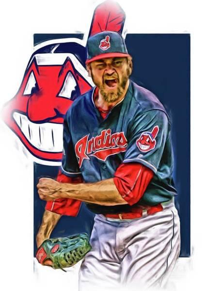 Wall Art - Mixed Media - Andrew Miller Cleveland Indians Oil Art by Joe Hamilton