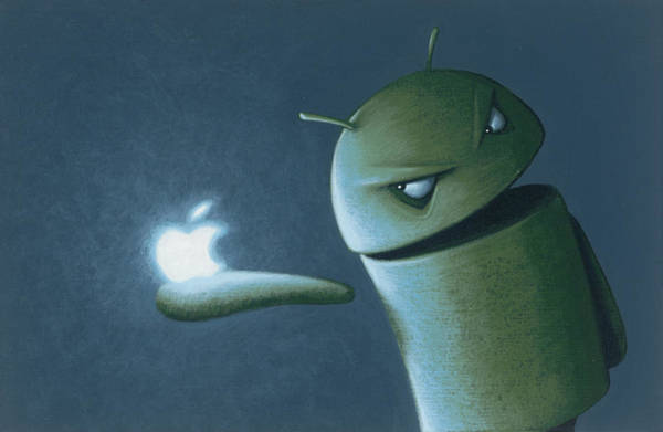 Apple Painting - Android Vs Apple by Jasper Oostland