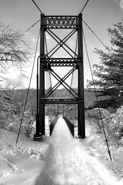 Photograph - Androscoggin Swinging Bridge In Winter by Olivier Le Queinec