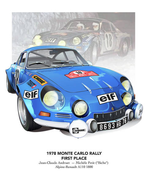 Wall Art - Drawing - andruet Biche Monte Carlo Alpine Renault Poster by Alain Jamar