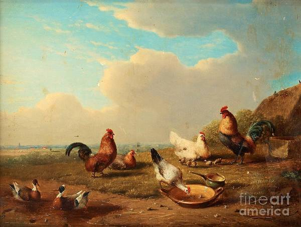 Painting - Andscape With Hens by Celestial Images