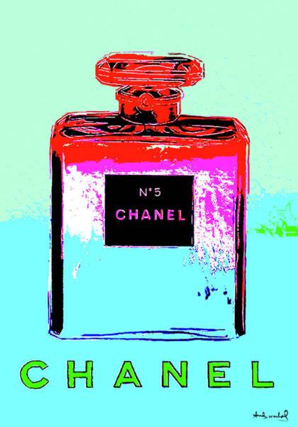 Wall Art - Mixed Media - Andy Warhol's, Chanel No 5, Paris, Eau De Parfum .  Cool Blue Background by Thomas Pollart