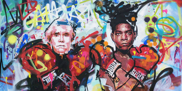 Boxing Painting - Andy Warhol And Jean-michel Basquiat by Richard Day