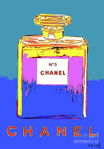Wall Art - Mixed Media - Andy Warhol's, Chanel No 5, Paris, Eau De Parfum .  Warm Blue Background. by Thomas Pollart