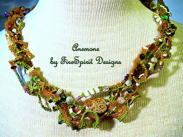 Tapestry - Textile - Anemone- Freeform Peyote Stitch Necklace by Patricia Griffin Brett
