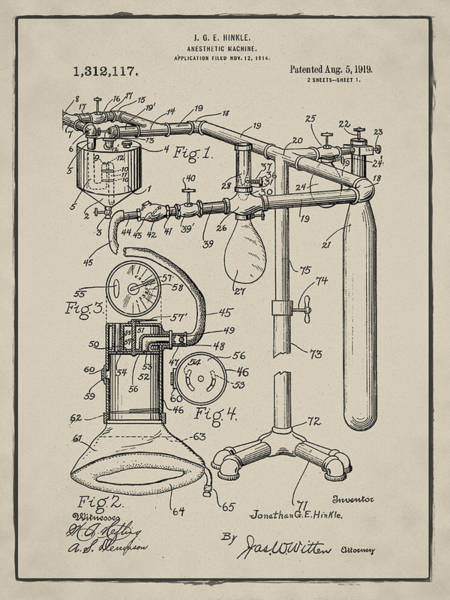 Digital Art - Anesthetic Machine Patent 1919 In Sepia by Bill Cannon