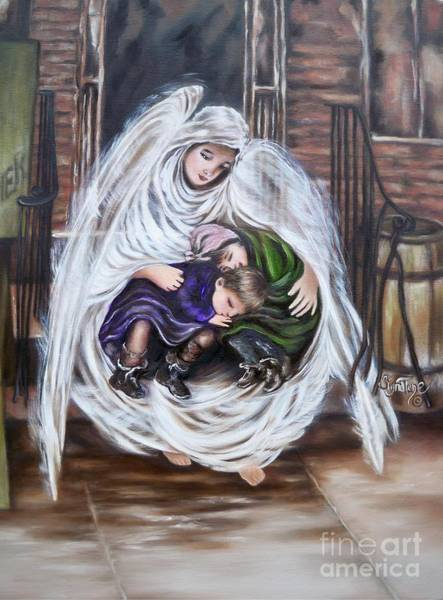 Painting - Flying Lamb Productions.        Angel And The Orphans by Sigrid Tune