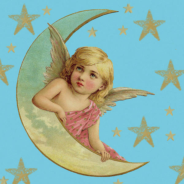 Digital Art - Angel Cherub On Crescent Moon by Joy McKenzie