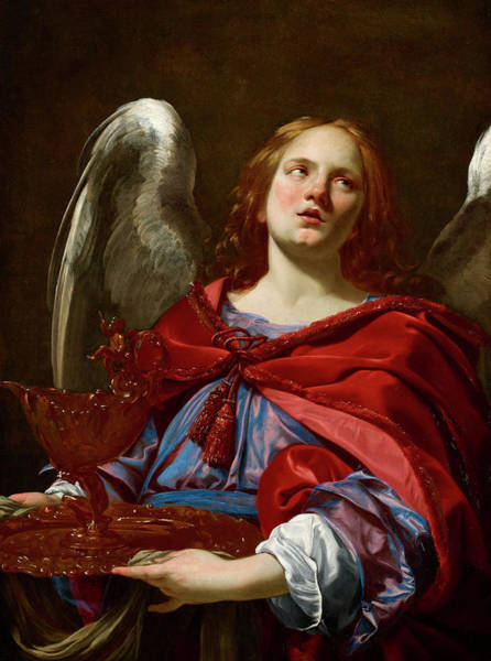 Towels Painting - Angel Holding The Vessel And Towel For Washing The Hands Of Pontius Pilate by Simon Vouet