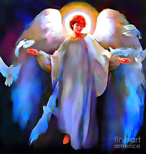 Painting - Angel Lit With Halo by Catherine Lott