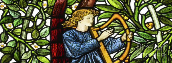 Wall Art - Glass Art - Angel Musician, 1873 by Edward Coley Burne-Jones and William Morris