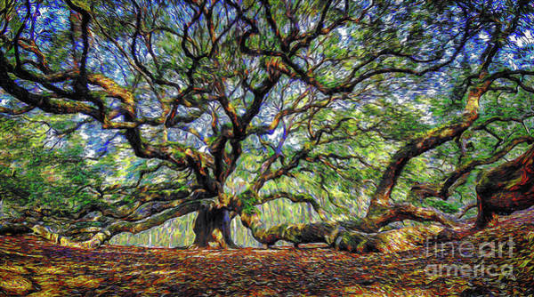 Angel Oak In Digital Oils Art Print