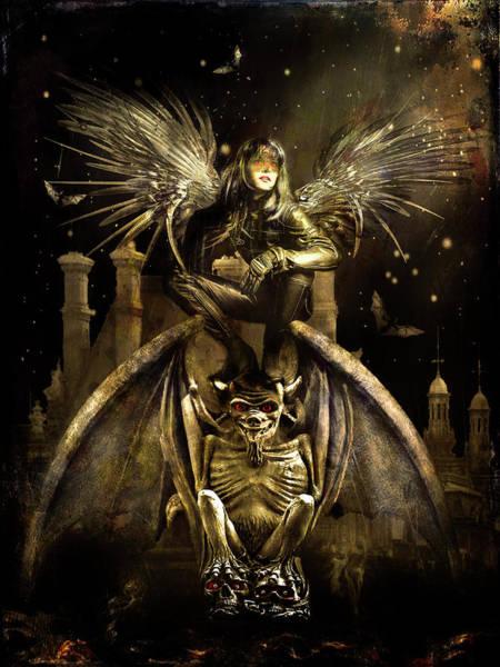Gargoyle Digital Art - Angel Of The Night by Rosemary Smith