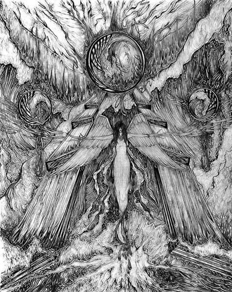 Sorcery Drawing - Angel Of Water And Fire by Mike Unrue