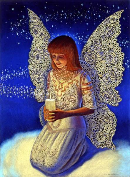 Lace Painting - Angel Prayer by Sue Halstenberg