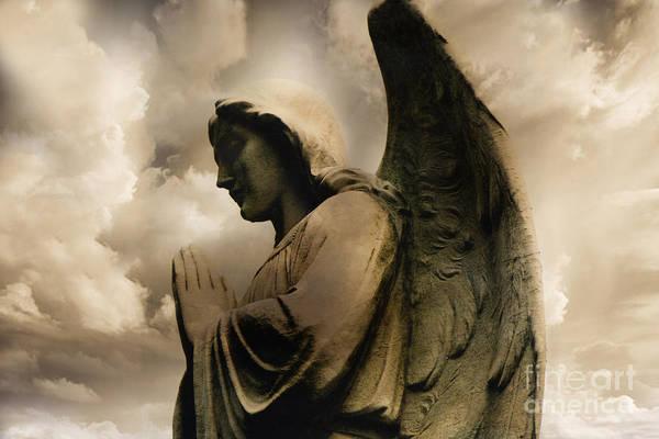 Guardian-angel Photograph - Angel Praying Spiritual Angel Art - Heavenly Angel Praying Hands by Kathy Fornal