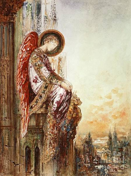 Watercolours Wall Art - Painting - Angel Traveller by Gustave Moreau