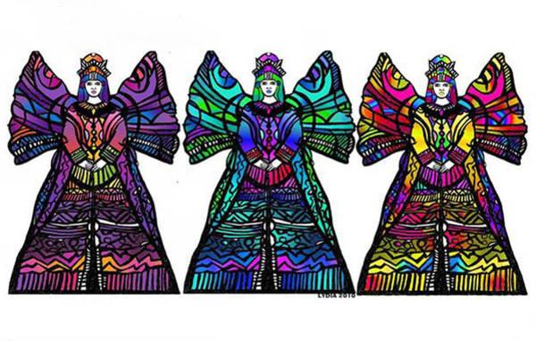Trio Drawing - Angel Trio by Lydia L Kramer