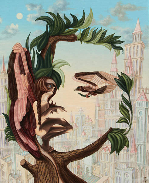 Painting - Angel, Watching The Reincarnation Of Marilyn Monroe On The Swinging City Towers by Victor Molev