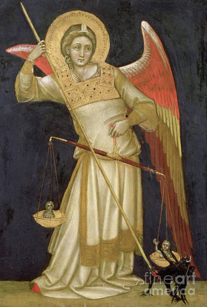 Hells Angels Wall Art - Painting - Angel Weighing A Soul by Ridolfo di Arpo Guariento
