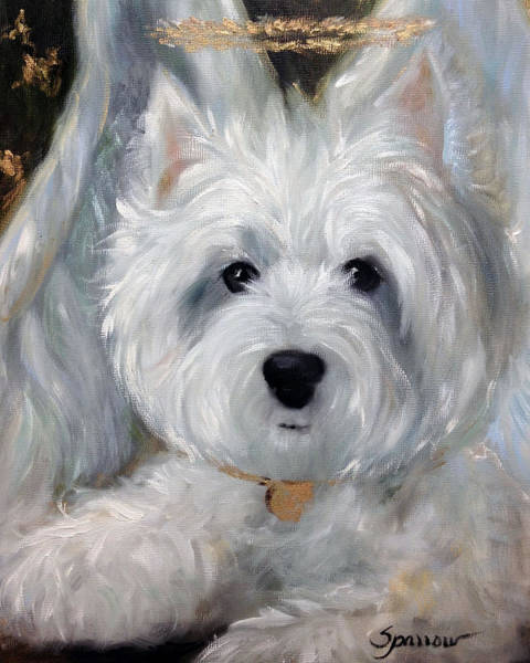 Wall Art - Painting - Angel Westie by Mary Sparrow