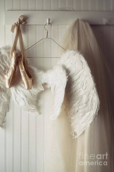 Photograph - Angel Wings And Ballet Shoes Hanging On Hooks                    by Sandra Cunningham