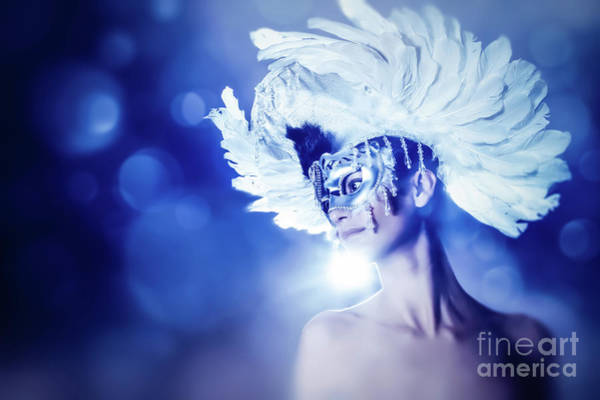 Photograph - Angel Wings Venetian Mask With Feathers Portrait by Dimitar Hristov