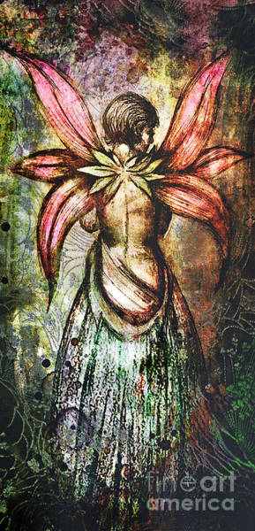 Dryad Wall Art - Digital Art - Angel With Flowery Wings by Michael Volpicelli