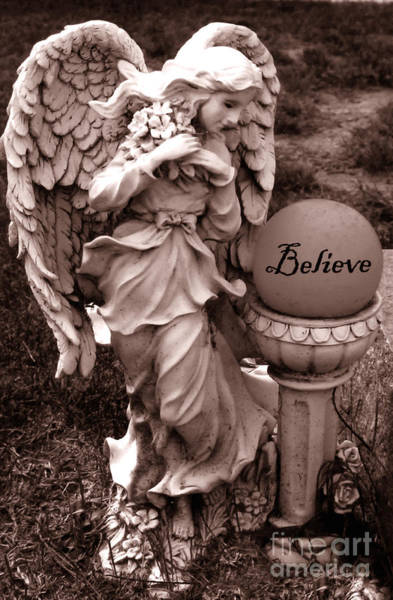 Guardian-angel Photograph - Angel Inspirational Words Believe  by Kathy Fornal