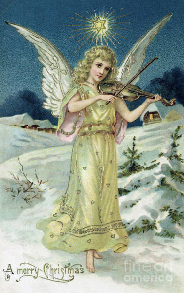 Wall Art - Painting - Angel With Violin by English School