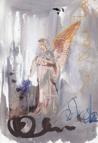 Guache Painting - Angel Writing Doodles In Spirit by Amara Dacer