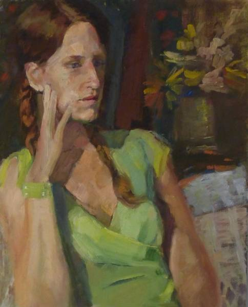 Plaits Painting - Angela In Green Dress by Irena Jablonski