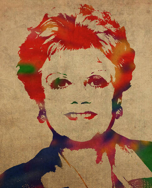 She Mixed Media - Angela Lansbury Watercolor Portrait by Design Turnpike