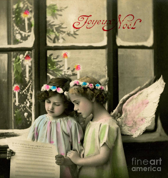 Carol Singing Photograph - Angelic Girls, French Christmas Card by French School