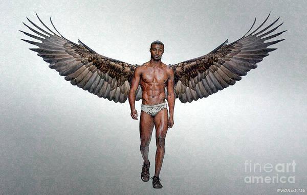 Digital Art - Winged Man 3 by Walter Neal