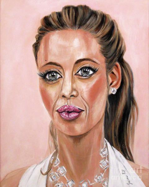 Painting - Angelina Jolie. Painting 2016 by Oksana Semenchenko