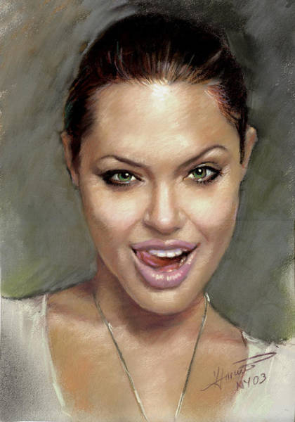 Wall Art - Pastel - Angelina Jolie by Ylli Haruni