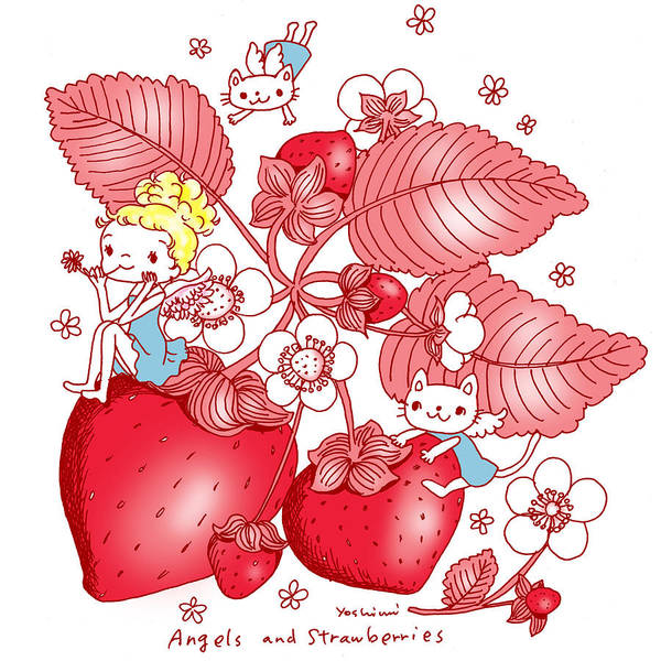 Painting - Angels And Strawberrys by Yoshimi Hata