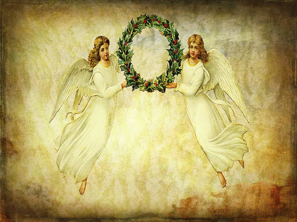 Wall Art - Mixed Media - Angels Christmas Card Or Print by Bellesouth Studio
