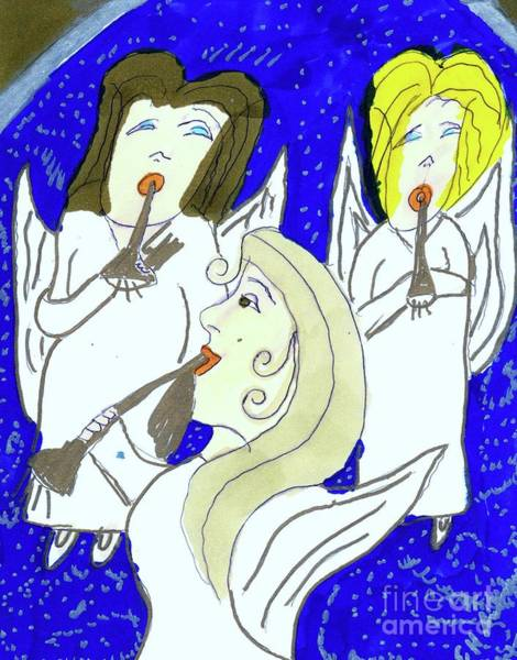Trumpet Mixed Media - Angels In Harmony by Elinor Helen Rakowski