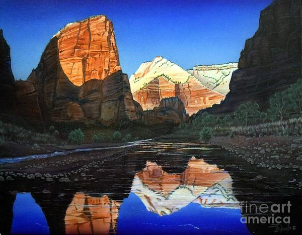 Zion Painting - Angels Landing Zion by Jerry Bokowski