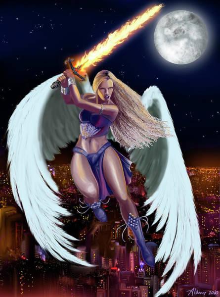 Flaming Sword Painting - Angel's Sword by Alsheeny Merche Garcia