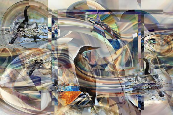 Digital Art - Anghinga Anhinga On Abstract by rd Erickson