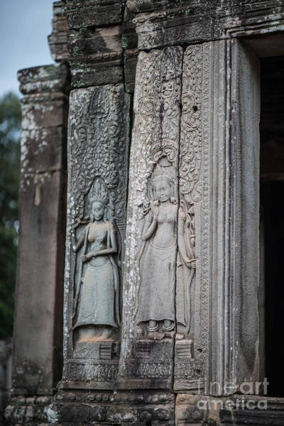 Angkor Wall Art - Photograph - Angkor Apsaras Bas Relief by Mike Reid